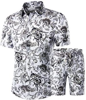Men's Floral Tracksuit Summer 2 Piece Short Sleeve Shirt and Shorts Jogging Sweatsuit