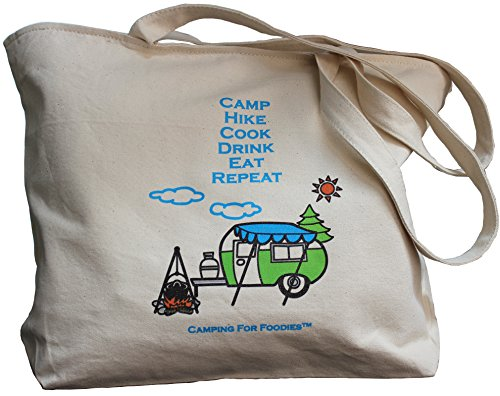 Tote is great gear for after making this Carrot Cake Oatmeal Camping Breakfast Recipe