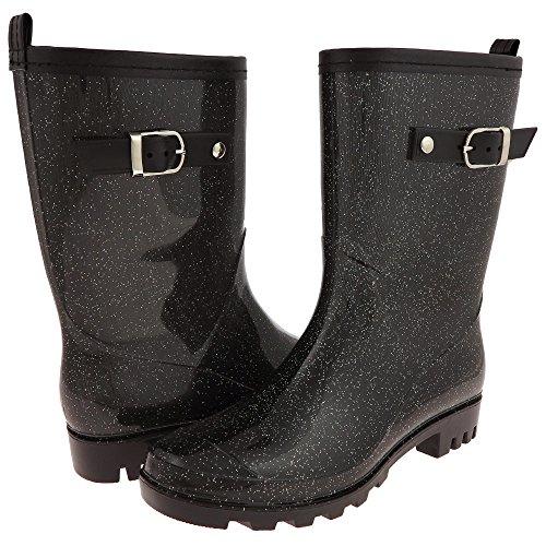 Capelli New York Solid Ladies Short Basic Body Jelly Rain Boot Black Combo 9
