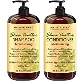 MAJESTIC PURE Shea Butter Shampoo and Conditioner Set, Moisturizing & Nourishing - Natural Daily Shampoo Set for Men and Women - Sulfate Free & Paraben Free, 16 fl oz each
