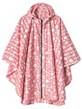 Waterproof Rain Poncho Jacket Coat for Adults Hooded with Zipper(Pink Floral)