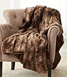 Pinzon Faux Fur Throw Blanket - 63 x 87 Inch, Alpine Brown