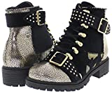 Shoe Republic Patchwork Design Stylish Combat Boots w/Studded Buckle Straps Pierre (Black 6)