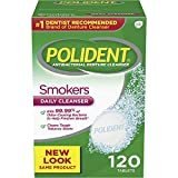 Polident Smokers Antibacterial Denture Cleanser Effervescent Tablets, 120 count