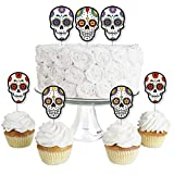 Big Dot of Happiness Day of the Dead - Dessert Cupcake Toppers - Halloween Sugar Skull Party Clear Treat Picks - Set of 24