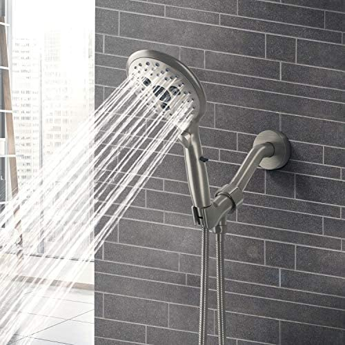 Suncleanse Shower Head, 7 Settings Hand held Shower with ON/OFF Pause Switch, Brushed Nickel High Pressure Shower Head with 71 inch Hose 17