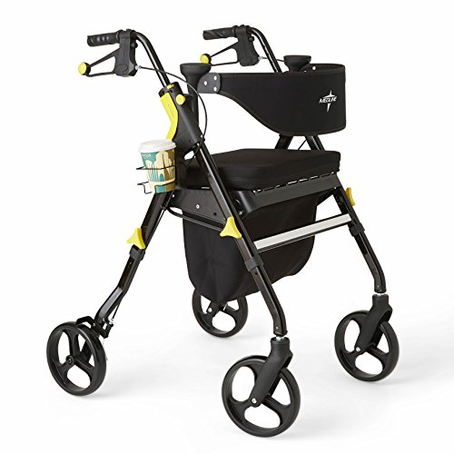 Medline Premium Empower Folding Mobility Rollator Walker with 8-inch Wheels, Black