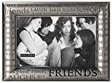 Malden International Designs Modern Pewter Metal Diecast Friends Expressions Picture Frame, 4x6, Silver