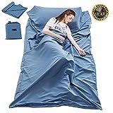 Sleeping Bag Liner Travel and Camping Sheet Lightweight Compact Sleep Bag Sack Picnic (82.7 X 45 Inch, Blue)