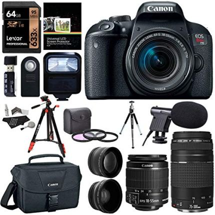Canon-EOS-Rebel-T7i-EF-S-18-55-is-STM-Camera-Kit-EF-75-300mm-III-Lexar-633x-U3-64GB-XIT-Wide-Angle-Telephoto-Lens-Ritz-Gear-57-Tripod-and-Accessory-Bundle