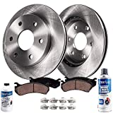 Detroit Axle - Front Brake Rotors & Ceramic Pads w/Clips Hardware Kit & BRAKE CLEANER & FLUID for 07-18 Escalade,ESV - [08-18 Sierra/Silverado 1500] - [05-18 Suburban, Yukon XL] - [07-13 Avalanche]