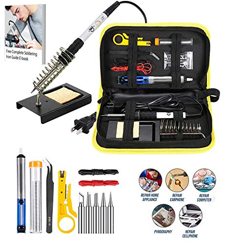 Magento's Superb Quality Soldering Iron - 14 Extra Pieces for Easy & Safe Use at Work and Home
