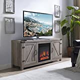 Home Accent Furnishings New 58 Inch Barn Door Fireplace Television Stand in Grey Wash Color