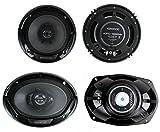 Kenwood KFC-1665S + KFC-6965S 6.5' 300W 2-Way Plus (2) 6x9 400W 3-Way Car Speakers
