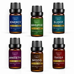 Aromatherapy Essential Oil Blend Set of top 6 Pure Therapeutic Grade Oils 10 ml Synergy Blends Include Breathe Sleep Anxiety Mood Energy and Thief Protection – Made in USA