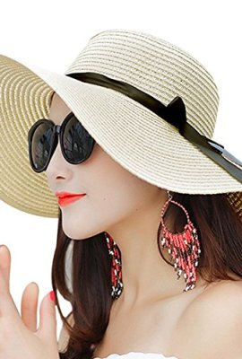 96e1cf5d8b1 Promini Women Floppy Hat Big Bowknot Straw Hat Wide Brim Beach Hat Foldable Sun  Hat