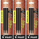 Pilot Gel Ink Refills for FriXion Erasable Gel Ink Pen, Fine Point, Black Ink, 3 Packs containing 3 refills each total of 9 refills (77330)