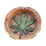 PolyPlus Marijuana Pot Leaf Weed Cigarette Ashtray for Outdoors and Indoors Use - Modern Christmas Holiday Home Decor Tabletop Ash Tray for Smokers - Nice Gift for Men and Women