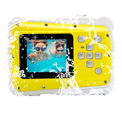 Waterproof Digital Camera for Kids, Vmotal Waterproof Camera for Kids with 2.0 Inch LCD Display, 8X Digital Zoom, Flash for Children Boys Girls Gift Toys (Yellow)