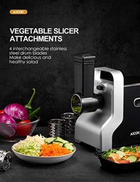 Electric-Meat-Grinder-2500W-Max-Powerful-AICOK-MG2950R-5-IN-1-Meat-Mincer-with-Sausage-Stuffer-Vegetable-Slicer-Tomato-Juicer-Kubbe-Kits-3-Grinding-Plates-3-Speed-10-PoundsMin
