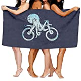 Octopus Bike Beach Towels Ultra Absorbent Microfiber Bath Towel Picnic Mat for Men Women Kids