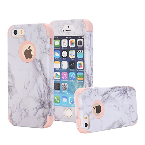 iPhone 5S Case, iPhone 5 Case, iPhone SE Case, Ankoe Marble Stone Pattern Shockproof Full Body Protective Cover Dual-Layer Slim Soft Flexible Silicone and Hard PC for Apple iPhone SE/5S/5 (Rose Gold)