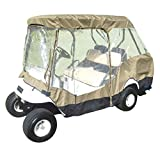 Formosa Covers Premium Tight Weave Golf Cart Driving Enclosure for 4 Seater with 2 Seater roof up to 58'