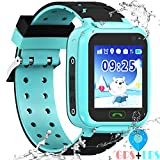 "Kids Waterproof Smartwatches Phone - [Free Extra Bands] WiFi GBS LBS Positioning Locator 1.4"" Touch Screen Wristwatch with Call Voice Chat Pedometer Alarm Clock Gifts for Boys Grils"