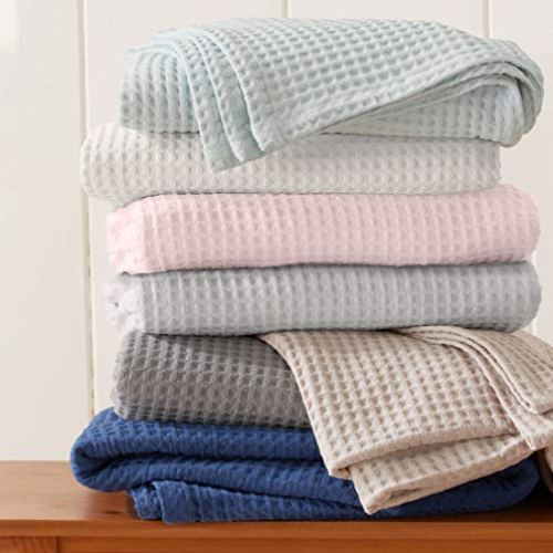 100% Cotton Waffle Weave Thermal Blanket. Super Soft Season Layering. Mikala Collection (King, Light Grey)
