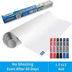 Dry Erase Paper, Whiteboard Stickers for Wall, 1.5x11ft White Board Roll Peel and Stick, Super Sticky, No Ghost White Board Paper Roll Adhesive,Dry Erase Wallpaper for Office,6 Markers