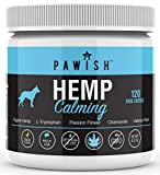 Calming Treats for Dogs with 100% ORGANIC HEMP Oil, L Tryptophan, Chamomile, Passion Flower & Valerian - Stress & Anxiety Relief -120 Chews -Separation, Travel, Fireworks, Storms, Barking- Made in USA