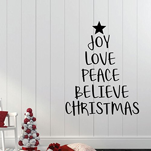 Christmas Tree Wall Decal - Joy Love Peace Believe - Holiday Vinyl Stickers for Living Room or Home Decoration