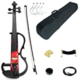 Kinglos 4/4 Red Fire Colored Solid Wood Intermediate-B Electric/Silent Violin Kit with Ebony Fittings Full Size (DSZB0017)