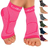 TechWare Pro Ankle Brace Compression Sleeve - Relieves Achilles Tendonitis, Joint Pain. Plantar Fasciitis Foot Sock with Arch Support Reduces Swelling & Heel Spur Pain. Injury Recovery for Sports