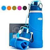 Collapsible Water Bottle 750ml / 26 fl oz, Reusable Foldable Leak Proof Travel Bottle, Outdoors Sports Camping Hiking Gym Fitness Training Bottles, Food-Grade Silicone BPA Free/ Non-Toxic(Blue)
