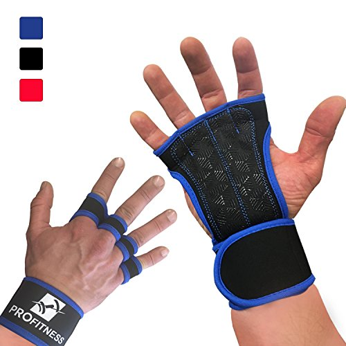 ProFitness Training Gloves with Silicone Padding, Wrist Support for WODs, Gym Workout, Weightlifting & Fitness - Perfect for Men & Women (Royal Blue, Small)