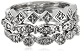 Sterling Silver Diamond Accent 3 Piece Stackable Ring, Size 7
