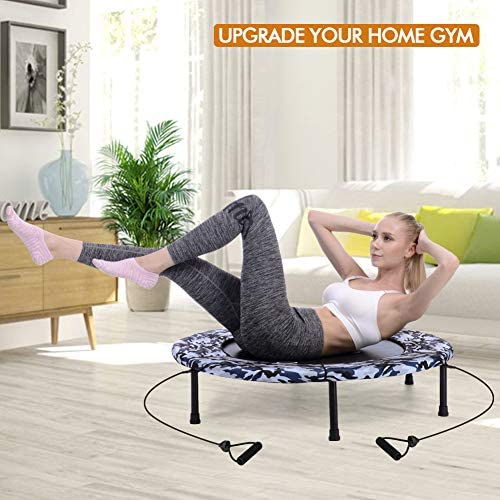 """2020 Upgraded Wamkos 40"""" Rebounder Mini Exercise Trampoline for Adults Kids,Indoor Foldable Fitness Trampoline Trainer with Resistance Bands for Sports & Outdoor,Yoga and Other Jumping Cardio Exercise 5"""