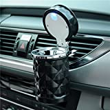 Vurtne Auto Car Ashtray Portable with Blue LED Light Lighter Ashtray Smokeless Smoking Stand Cylinder Cup Holder (Black)