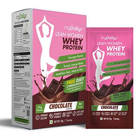 myDaily Protein for Women – Lean whey protein powder with Calcium & Iron, Chocolate flavor, 7 servings, 0g added sugar