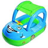 HmiL-U Baby Water Floats Toys with Inflatable Canopy Sunshade Swimming Pool Boat for Age of 6-36 Months Old Baby (Blue car)
