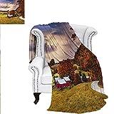 RenteriaDecor Landscape Flannel Blanket Vermont USA Autumn Scene Warm Microfiber All Season Blanket for Bed or Couch 70'x60'