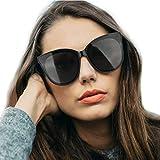 LVIOE Polarized Oversized Frame 100% UV Protection Fashion Cateyes Style Sunglasses Eyewear for Women (Black, Black)