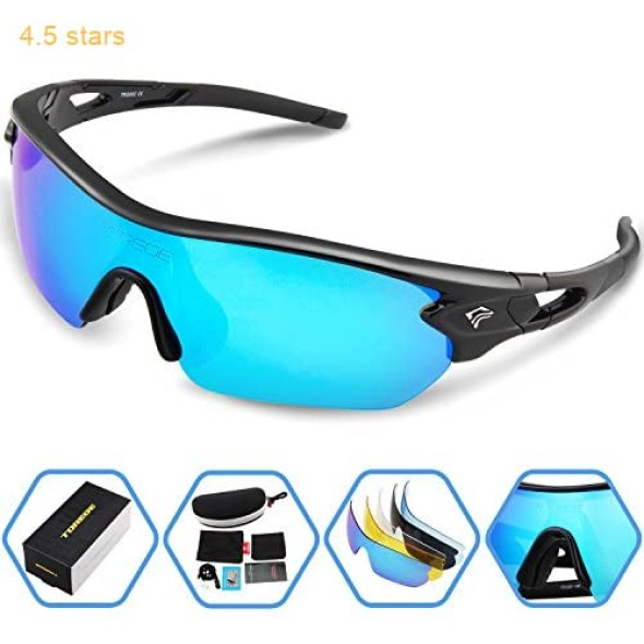 797771e884 Torege Polarized Sports Sunglasses With 5 Interchangeable Lenes for Men  Women Cycling Running Driving Fishing Golf Baseball Glasses TR002