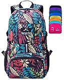 Venture Pal Lightweight Packable Durable Travel Hiking Backpack Daypack (Black Leaf)