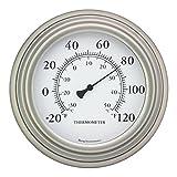 Bjerg Instruments 8' Satin Nickel Finish Decorative Indoor/Outdoor Thermometer