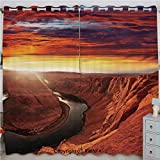 Justin Harve window Fantastic Scenery of The River Between Rock Cliffs with Mystical Sky Mod Art Image Grommet Top Blackout Curtains Set of 2 Panels(100'x 84' Orange Yellow