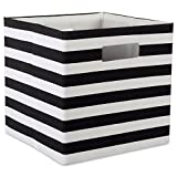 "DII Hard Sided Collapsible Fabric Storage Container for Nursery, Offices, & Home Organization, (13x13x13"") - Stripe Black"