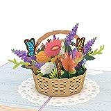 Lovepop Flower Basket Pop Up Card, Card for Mom, Card for Wife, 3D Card, Flower Card, Spring Card, Greeting Card, Thank You Card, Appreciation Card