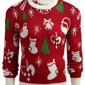 HTOOHTOOH Men's Ugly Christmas Print Sweater Crewneck Pullover Knit Sweater Tops